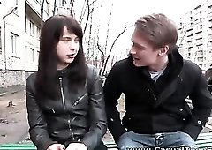 Leather pants on sexy teen slut he seduces