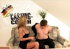 German blonde in glasses performs her first casting XXX video