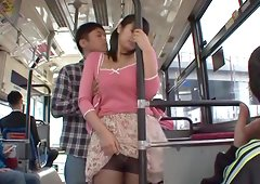 Asian chick with big nipples sucking a stranger's cock in public