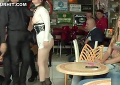 Busty slave ass caned in the rain
