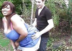 Slim guy bangs ebony bbw from behind