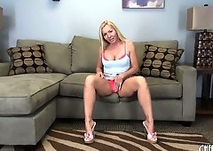 Sexy blonde Lisa DeMarco does an interview and plays with her tits