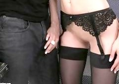 Sexy Lady In All Black Lingerie Makes The Photographer So Horny