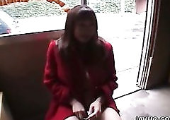 Horny beauty in red coat Hina Shirakawa is happy to masturbate herself