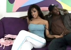 Curvy ebony girl Alicia Tyler has a huge black rod banging her peach on the sofa