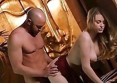 Blond-haired pale chick enjoying hard doggy style drilling
