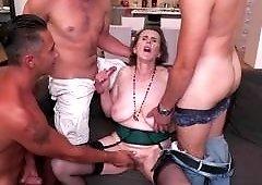 Busty Granny In A Wild Gang Bang
