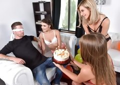 Lingerie threesome bj bday surprise