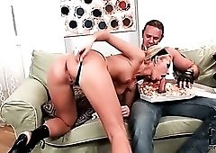 Slut in leather dress sucks pizza delivery guy