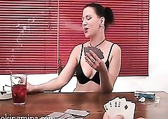Chick plays strip poker and smokes too