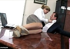 George Uhl pounds sexy blonde woman on her office desk