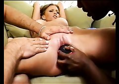Buxom red haired sweetie Candy Apples had hard core interracial threesome