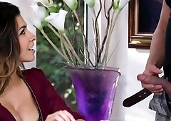 Sexy woman is amusing her husband's friend
