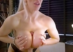 First-class blondie with big boobies and a giant British dick