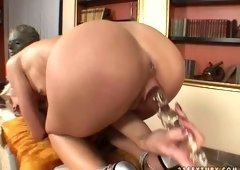 Small breasted blond hooker Cora Carina performs solid solo in the library