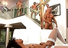 Brunette chick Misty Stone enjoys banging with more guys at once