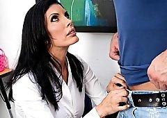 Busty teacher on her knees sucking