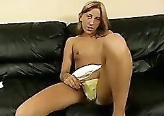 Long legged ugly blonde whore gets rid of thongs to push them in slit