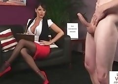 Busty voyeur teasing a submissive stranger