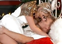 Christmas angel Claudia Macc brings him cock riding sex