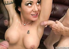 Brunette bitch Mahina Zaltana blows hard dicks of Eric Jover and two other dudes