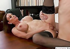 Pierced bald pussy of giant breasted MILF Diamond Foxxx is fucked on the table