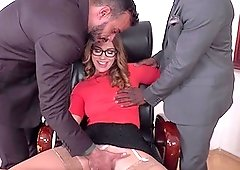 Mega wild threesome sex with a spicy office bitch