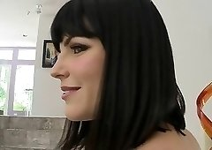 Brunette with bangs gets gang-banged and loves it