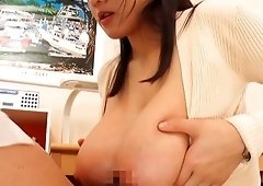 Busty Shibuya Kaho jerks a hard pecker with her round boobs