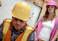 Foreman Dolly Leigh makes the construction worker nail her pussy hard
