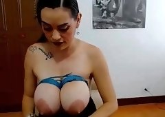 Nipple clamps and tit bondage on webcam