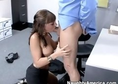 Nice buxomy Lily Paige having fun in very sexy stockings