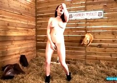 Village bitch Samantha Bentley takes off her clothes and dances