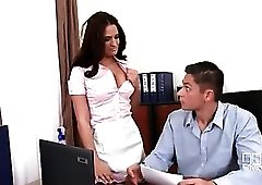 Office maid sucks his cock on a desk