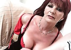 Fondling old titties excites his cock for a BJ