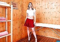 Tall and skinny British beauty in a flirty miniskirt