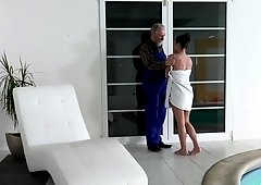 Young slut gets licked and pussy stuffed by an dirty old man