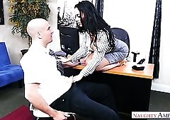 Sexy big breasted brunette boss Victoria June wanna be fucked by worker