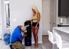 Bridgette B deepthroating and fucking the water delivery guy's big dick