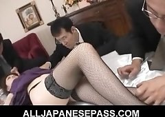 Rina Koizumi Hot Asian model in sexy stockings gets fucked by two guys