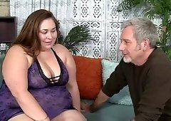 Long haired BBW Jayden Heart is so happy to ride fat cock of older man