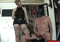 German fetish BDSM candle wax CBT session with amateur slave