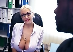 Horny female boss Lena Lay is checking out king size black dick of one employee