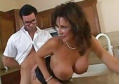 Deauxma getting screwed on her twat at the kitchen