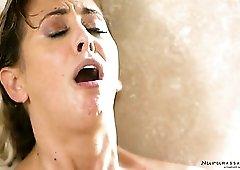 Perfect curvy beauty Valentina Nappi turns oily massage into lesbian sex
