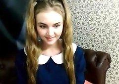 Blonde teen Morgan striptease