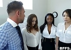Office slut Danni Rivers is ready for random MFFF foursome at work