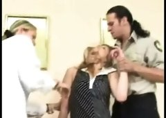 Policeman and nurse check up blonde