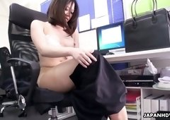 Sex-starved Asian secretary Ritsuko Tachibana is masturbating her pussy in the office