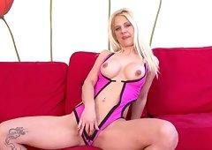 Caroline De Jaie Tattooed blonde in pink enjoyed a massive dick penetrating her twat and anal